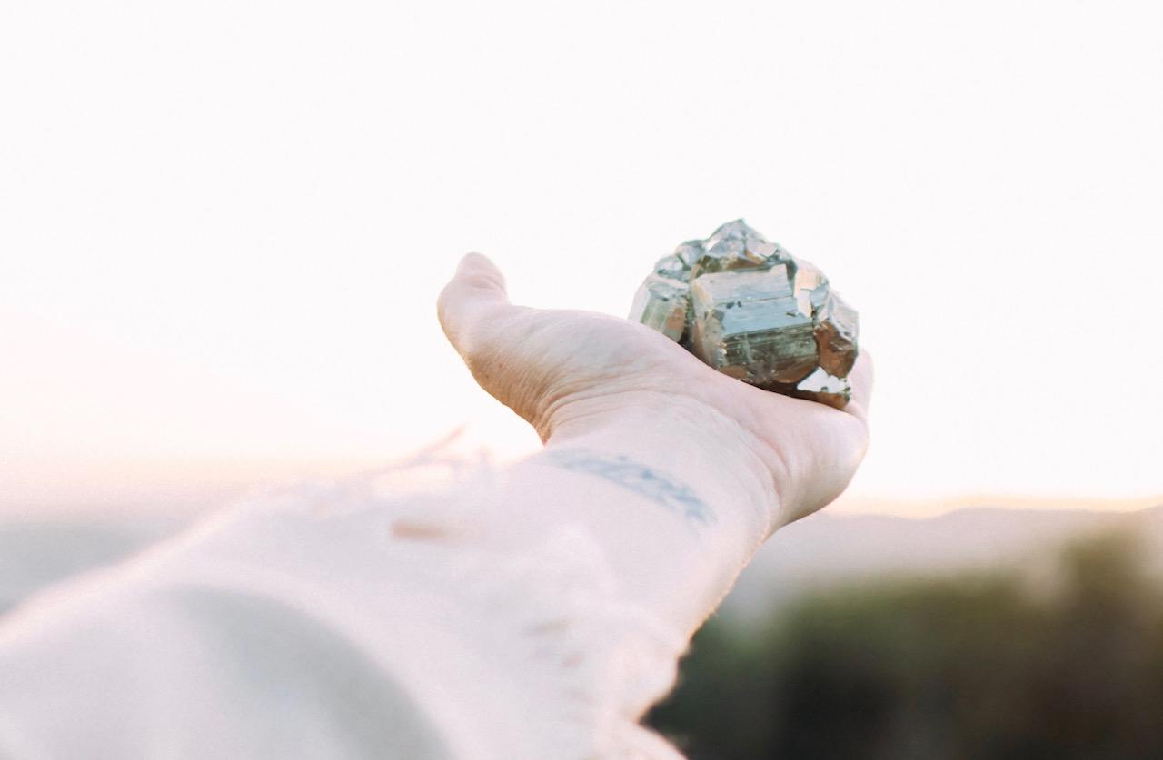 Lili holding pyrite